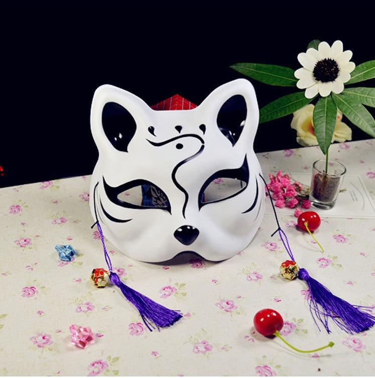 Japanese Fox Masks Full Face Hand-painted Style PVC Fox Cat Mask Cosplay Masquerade Festival Ball Kabuki Kitsune Cosplay Costume 15