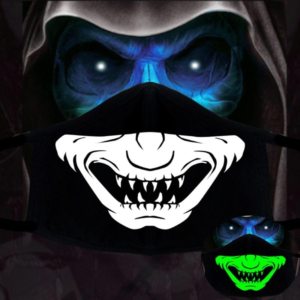 Halloween Cotton DIY Luminous Accessories Dust Masks Skeleton PM2.5 Dustproof Skull Half Face Mask Cosplay For Adult Skull Masks 2