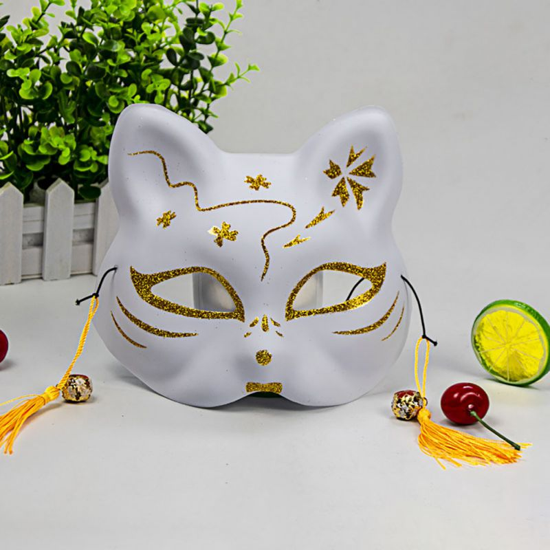 2020 Unisex Japanese Fox Mask With Tassels&Bell Non-toxic Cosplay Hand Painted 3D Fox Mask Costumes Props Accessories 5