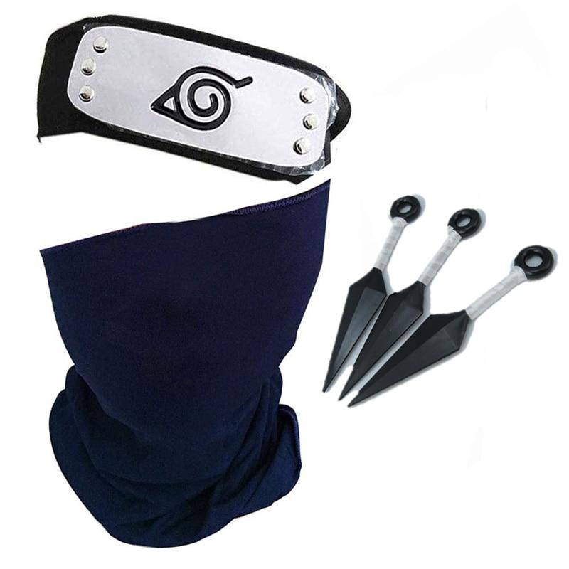 Naruto Hatake Kakashi Cosplay Mask Headband Kunai Outfit Konohagakurenosato Anime Masks Props Accessory 1