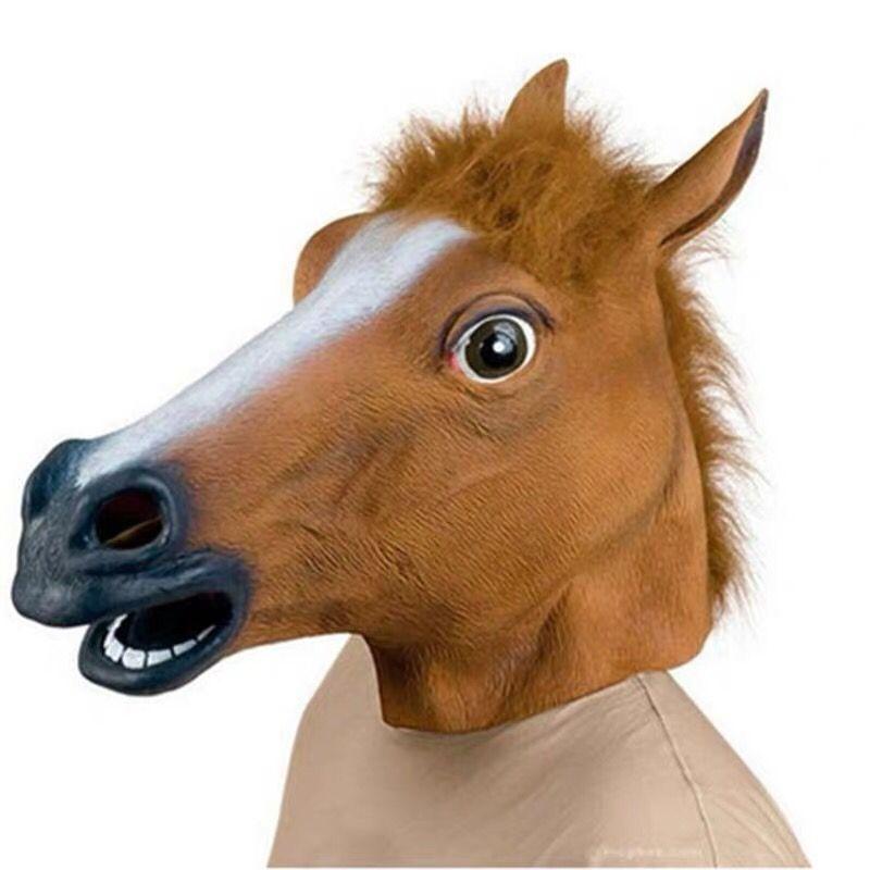 Halloween Mask Ball Cosplay Latex Horse Head Mask Animal Head Set Horse Mask Dog Horse Jun Horse Mask 4