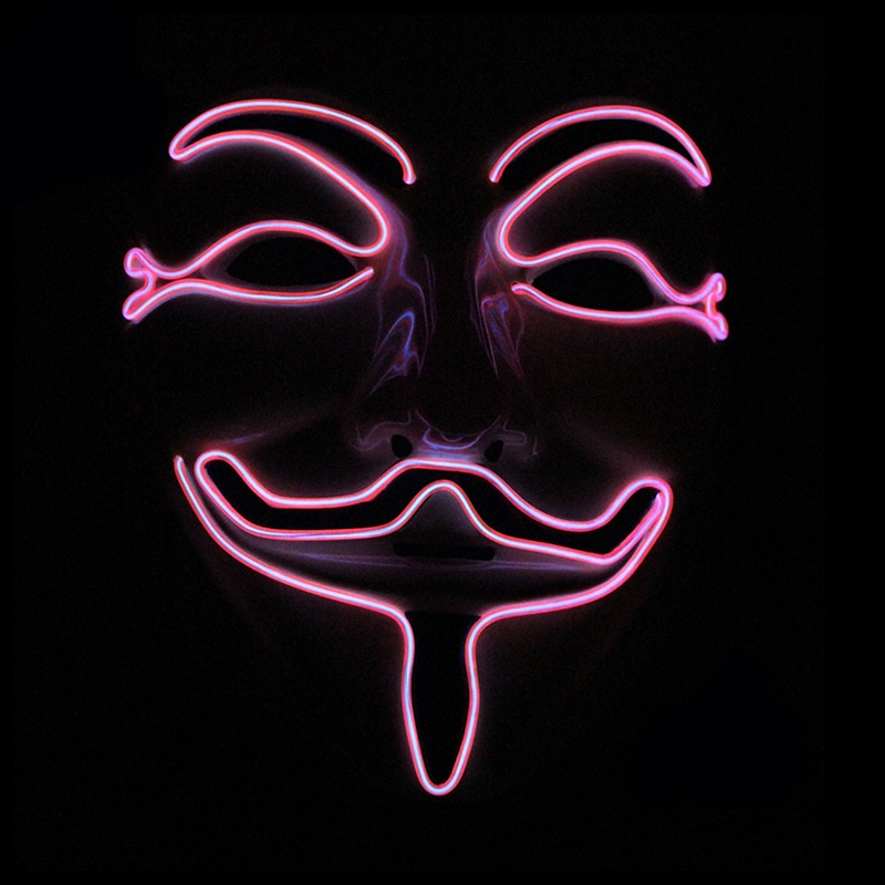Halloween Mask Vendetta EL Wire Mask Flashing Cosplay LED neon Costume Anonymous Mask for Glowing Dance Carnival Party Masks 5