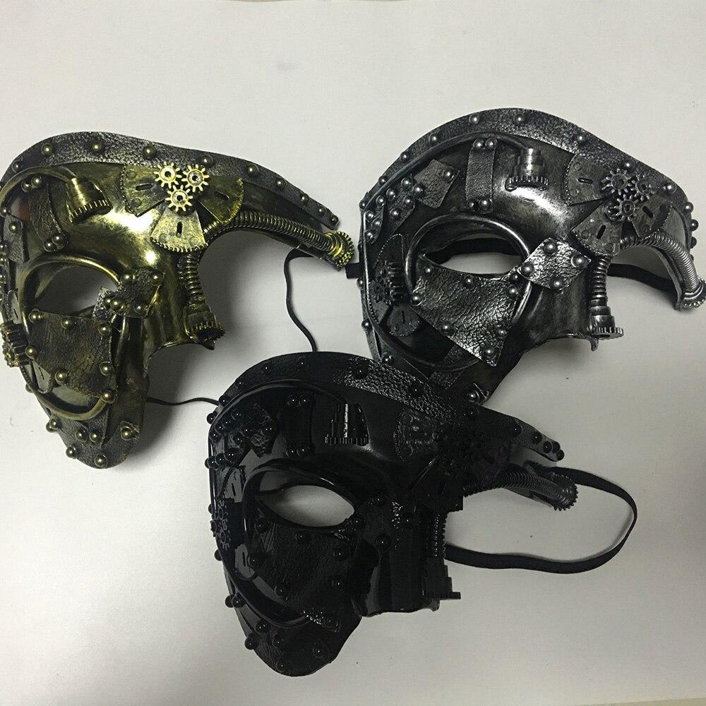 Steampunk  Phantom Masquerade Cosplay Mask Ball Half Face Men Punk Costume Halloween Party Costume Props 4